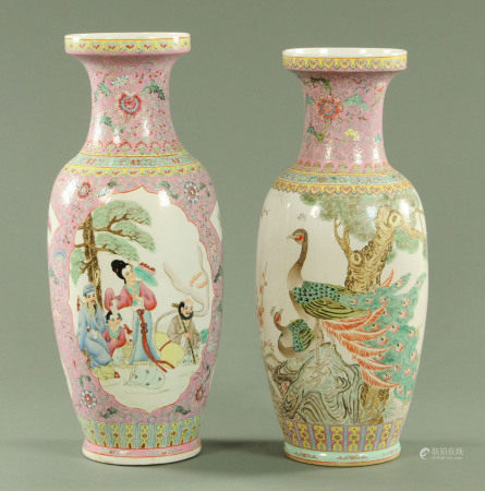 Two Chinese vases, polychrome, one decorated with peacocks the other with panels of figures.