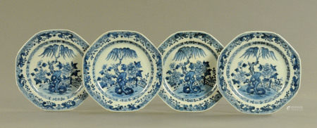 Four late 18th/early 19th century Chinese blue and white plates, with tree and fence patterns,