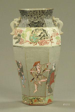 A Japanese earthenware vase,