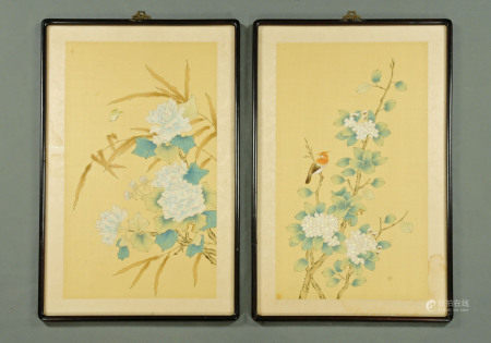 A pair of Chinese silk paintings, birds and butterflies with blossom.