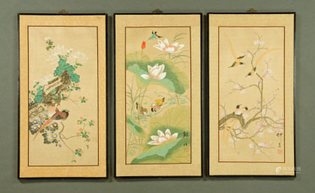 Three Chinese watercolours on silk, bird and plant studies.
