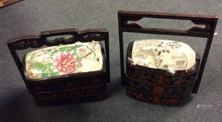 Two Chinese porcelain mounted three sectional stac