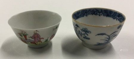 An Antique Chinese blue and white tea bowl togethe