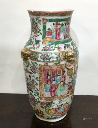 A large Canton vase decorated in bright colours. A