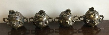 A good set of four Chinese brass censuses, the lif