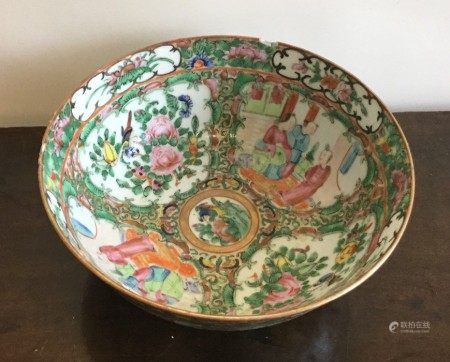 A Canton bowl decorated in bright colours. Approx.