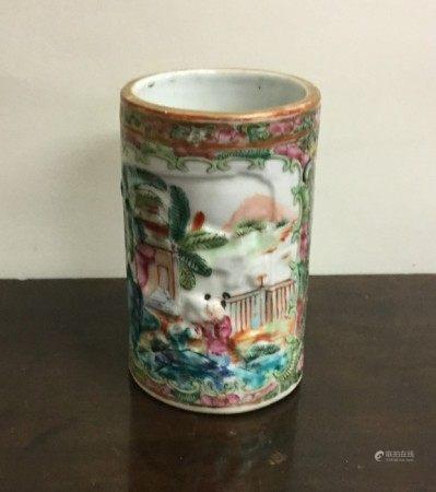 An attractive Canton vase decorated in bright colo