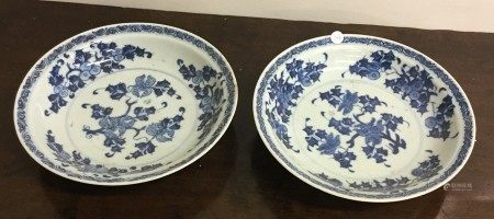 A pair of Nankin blue and white cargo plates of ci