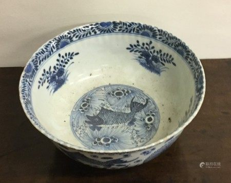An unusual Chinese blue and white bowl attractivel