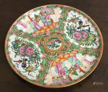 An attractive Canton shallow dish decorated in bri