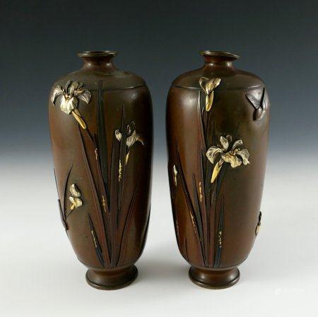 Paar Shakudo-Vasen.