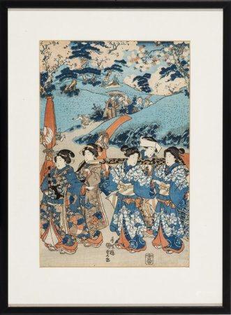 Japanischer Farbholzschnitt von Kunisada