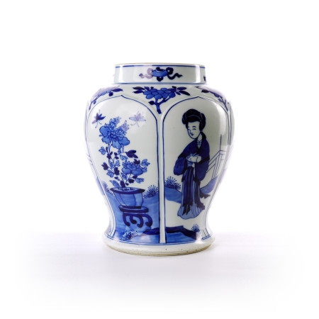 Blue and white figure flower decorative pot in the middle of Qing Dynasty