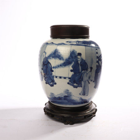 Blue and white figure decorated jar in early Qing Dynasty