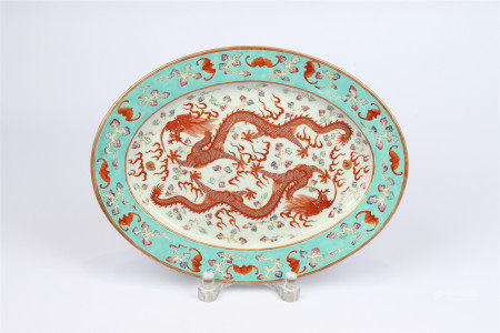Turquoise green glaze gold painted two dragons playing with beads decorative plate