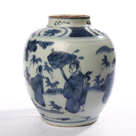 Blue and white figure and flower decorative pot in early Qing Dynasty