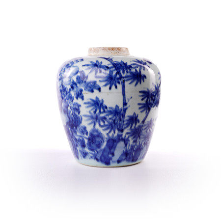 Blue and white flower decorative pot in the middle of Qing Dynasty