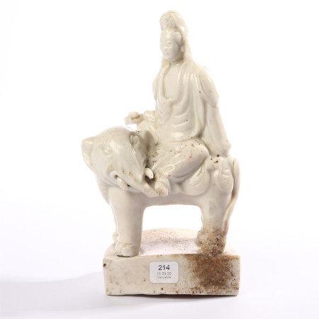 Dehua kiln Guanyin riding elephant ornaments