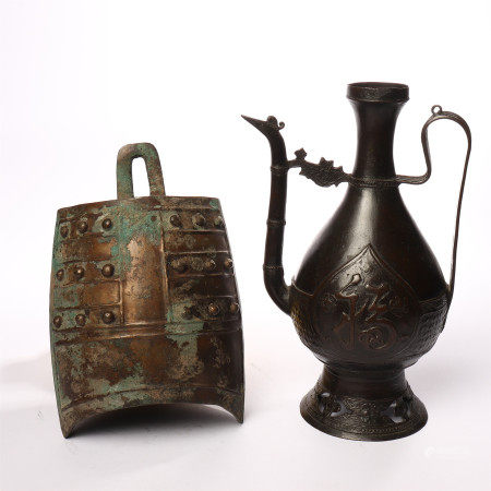 Chime bells of the Warring States period and a group of red bronze wine pots with Fushou patterns