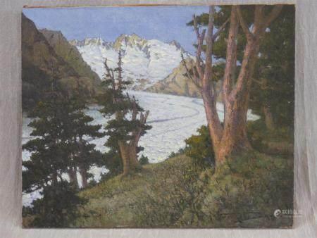 Georges DANTU(1867-1935)Glacier d'Aletsch, Valais en Suisse.huile sur toile 193481 x 100 cm.