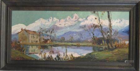 Pierre CALES (1870-1961)Paysage de montagnehuile sur panneau .32 x 75 cm.