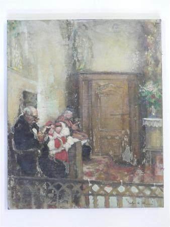 Jules René HERVÉ (1887-1981)Prêtres et enfants de choeur en prière. huile sur toile, signé en b