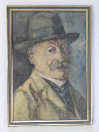 Harmen Hermanus MEURS (1891-1964) Portrait de Charles ROBLOTAquarelle encadrée datée 24 juin 19