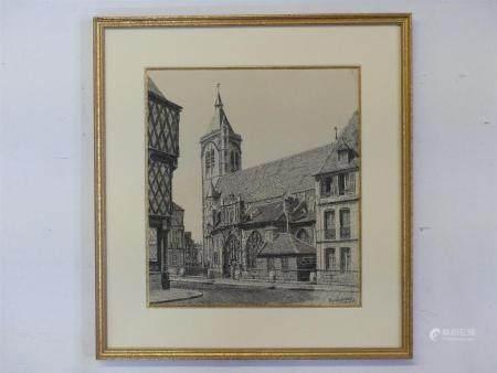 Marcel BASCOULARD (1913-1978)Eglise Notre Dame de Bourges.dessin à la plume, signé et daté juil