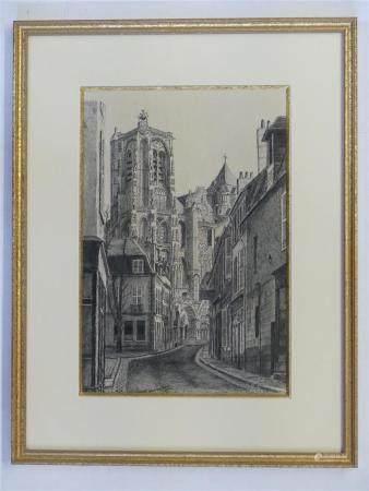 Marcel BASCOULARD (1913-1978)La Cathédrale St Etienne vue de la rue Porte Jaune. Dessin à l'enc
