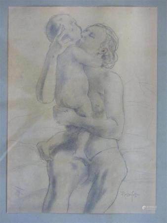 Armand RASSENFOSSE (1862-1934), Maternitédessin au crayon encadré25 x 18 cm.