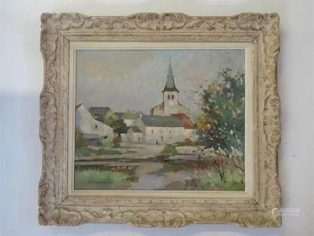 Jean Pierre FERRAND ( 1902 - 1983)Village au bord de l'eau - non situé.Huile sur toile signée.4
