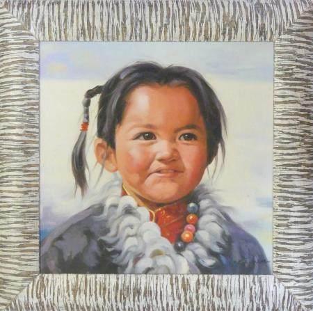 QUING - XXePetite fille MongoleHuile sur toile marouflée sur isorel37,5 x 37,5 cm