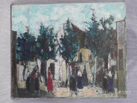 Pierre PRADIER (1919-2000)Place de village.huile sur toile signée et datée 196673 x 60 cm.
