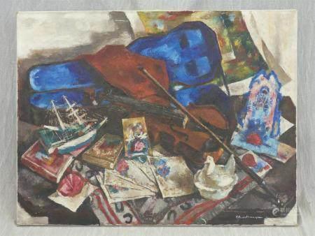 Paul CHARLEMAGNE (1892-1972)Nature morte au violon. huile sur toile signée en bas à droite89 x