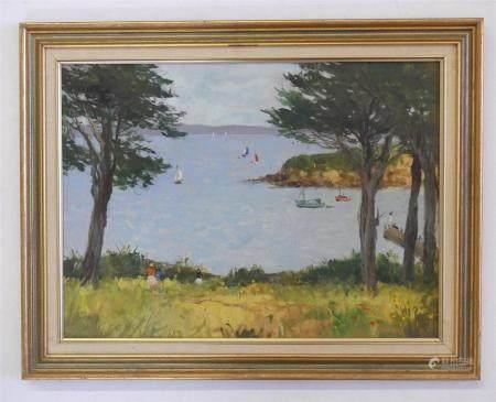 Serge KISLAKOFF (1897-1980)Bord de mer en Bretagnehuile sur carton38 x 51.5 cmNon signée - Vent