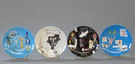 Jean-Michel BASQUIAT (1960-1988) by Ligne BlancheQuatre assiettes en porcelaine de Limoges édit
