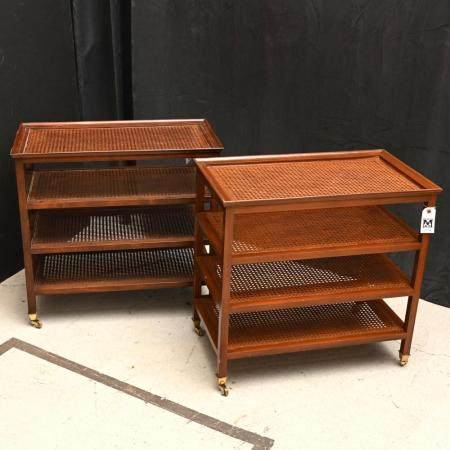 Nice pair Contemporary caned etagere side tables