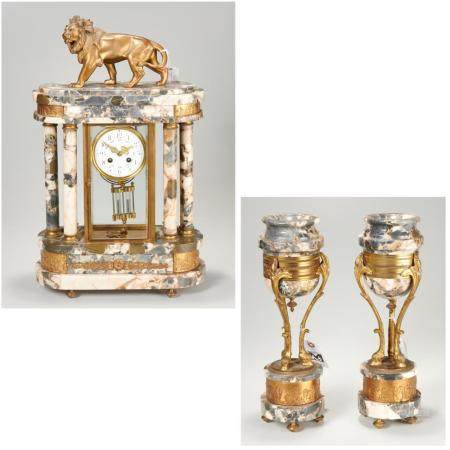French bronze and marble mantel clock garniture