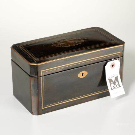 Napoleon III Palais Royal brass inlaid tea caddy