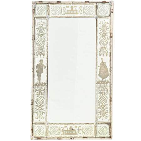 Antique Venetian etched glass wall mirror