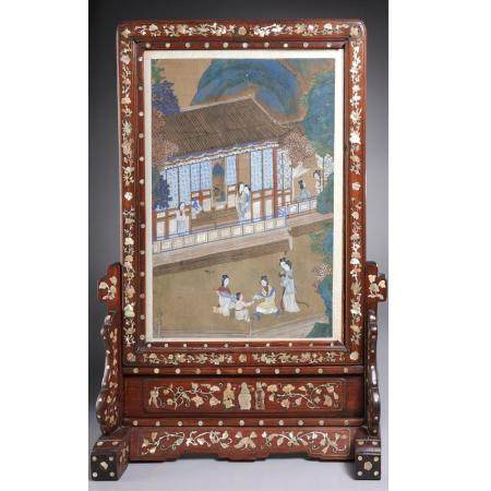 Chinese inlaid hardwood table screen