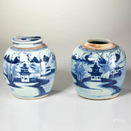 Pair Chinese Canton porcelain ginger jars