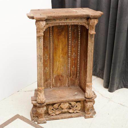 Antique carved wood devotional statuary niche