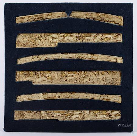 SATZ VON ACHT ELFENBEIN-RELIEFS, im hohen Relief geschnitzt je vier Paneele mit Jagdmotiven bzw.