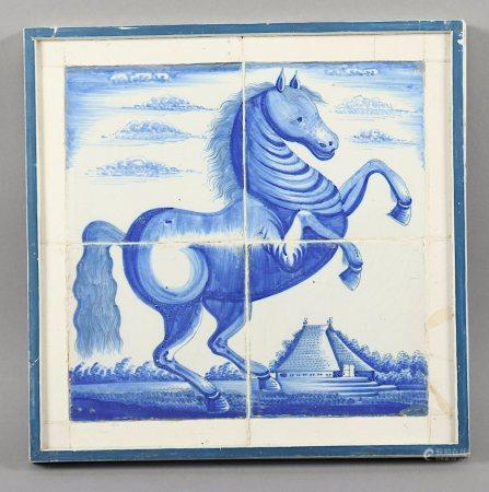 KACHELBILD, Fayence, blau bemalt, glasiert, DELFT, um 1700, gerahmt 31,5 x 32