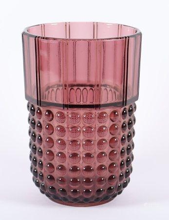 ART-DÉCO-VASE, violett getöntes Glas, H 21, gemarkt, VAL SAINT LAMBERT, um 1940
