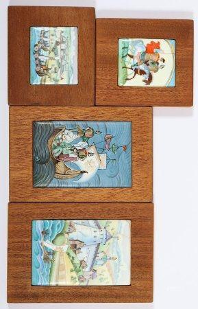 VIER FINIFT-PLAKETTEN, Email mit polychromer Bemalung Märchen und Sagen, auf Holz montiert, H bis