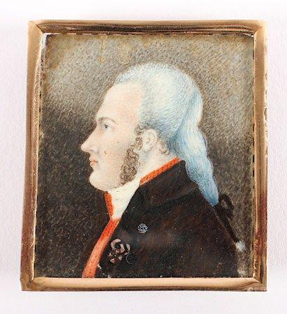 MINIATUR EINES MANNES, polychrome Malerei auf Plättchen, 5,5 x 4,5, vergoldeter Rahmen, DEUTSCH,