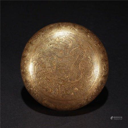 明 銅鎏金蓋盒半件