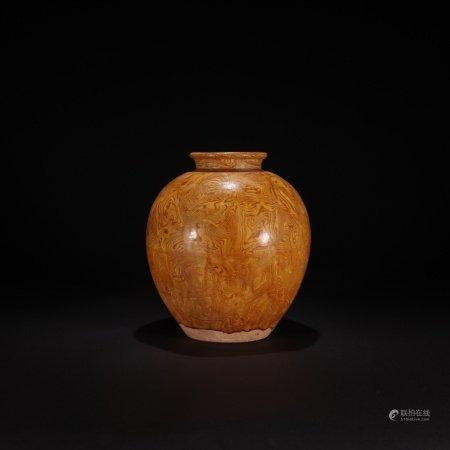 元 絞胎黃釉陶胎罐